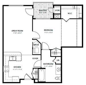 1 Bed / 1 Bath / 711-881 / Rent: Please Call